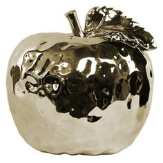 Urban Trends Dimpled Ceramic Apple Figurine with Stem and Leaf Gold - 32825