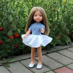 Комплект «Нежность» - сарафан, митенки, сапожки, шапочка для кукол Паола Рейна ростом 34 см Baby Doll Clothes, Crochet Doll Clothes, Baby Dolls, Knitting Patterns Free, Free Pattern, Crochet Patterns, Journey Girls, Pretty Dolls, Knit Dress