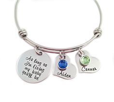 Personalized As Long As I'm Living My Baby You'll Be Bracelet - Hand Stamped Jewelry - Alex and Ani - Expandable Wire Bangle - Mom Jewelry by Stampressions on Etsy https://www.etsy.com/listing/239185258/personalized-as-long-as-im-living-my