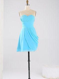 Blue Sweetheart Chiffon Short/Mini Ruched Cute Bridesmaid Dresses…