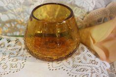 60-70\'s Blenko Amber Crackle Studio Glass Vase. Starting at $15