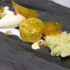 Goat Cheese Mousse Rolled with Pistachio, Bacon Ice Cream and Pistachio Sponge-Antonio Bachour
