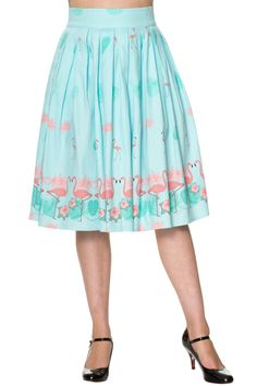 Fantastic 50s style cotton midi pleated skirt with gorgeous tropical Pink Flamingos.This stunning pleated semi-swing skirt is worn high at the waist and makes you want to do the happy dance. Made from