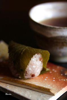 さくらもち | Sakura Mochi - sticky rice cake wrapped in Sakura leaf, Japan