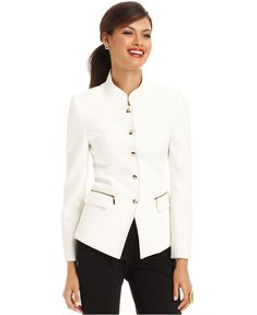 Mandarin Collar:  This modern jacket uses a version of the mandarin collar from the bustle period.  This modern design shows the popular collar of the time; it can sometimes have small ruffs around neckline. Has a Chinese/Eastern influence.