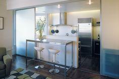 Sliding Partitions for Open Kitchens. #Houseplans #TimeToBuildBlog