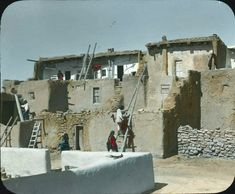 Acoma pueblo. New Mexico. Early 1900s. Photo by Chicago Transparency Company. Source - Palace of the Governors Archives. New Mexico History Museum.
