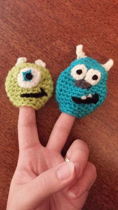 Monsters Inc Mike and Sully Crochet Finger Puppets by TinyButMightyHearts