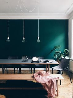 I love this scandi style modern dining room with a pop of colour in the blue/green wall. The retro style parquet floor looks stunning next to the dark wall. Interior Desing, Interior And Exterior, Room Inspiration, Interior Inspiration, Wall Design, House Design, Bedroom Colors, Colorful Interiors, Living Room Designs