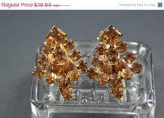 ON SALE Vintage Weiss Rhinestone Clip Earrings by CrazyAuntDesigns