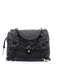Hand knitted wool bag with embroidered front and back edges by @Dolce & Gabbana