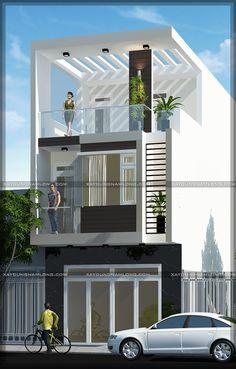 Top floor elevation and ground floor elevation this type 3 Storey House Design, Duplex House Design, House Front Design, Small House Design, Home Building Design, Building A House, Style At Home, Bungalow Haus Design, Narrow House Designs