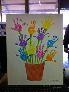 Handprint Flower Pot Art…a fun Mother's Day Gift! Handprint Flower Pot Art…a fun Mother's Day Gift! Easter Crafts For Kids, Crafts To Do, Preschool Crafts, Arts And Crafts, Spring Toddler Crafts, Kindergarten Crafts, Crafts For 2 Year Olds, Children Crafts, Easter Art