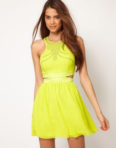 Blue and neon yellow dress