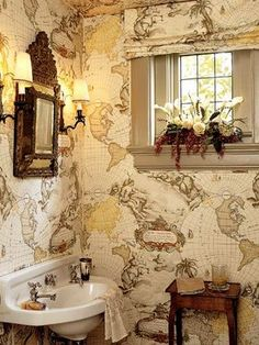 I am excessively fond of this bathroom. Our bathrooms are too small for this, but maybe I could do a counter top in this map?