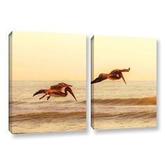 Pelicans At Sunset by Lindsey Janich 2 Piece Gallery-Wrapped Canvas Set