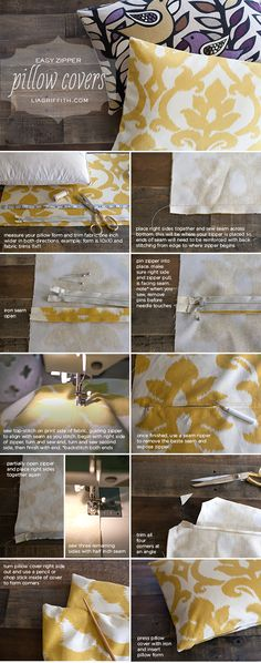 Easy DIY Zipper Pillow Covers #tutorial