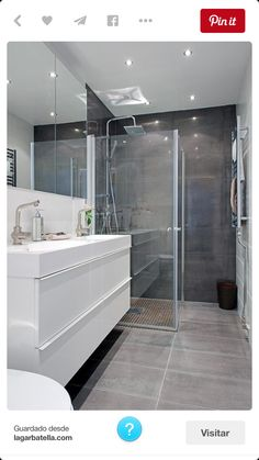 Modern Farmhouse, Rustic Modern, Classic, light and airy master bathroom design ideas. Bathroom makeover ideas and master bathroom renovation suggestions. Grey Bathroom Tiles, Gray And White Bathroom, Neutral Bathroom, White Vanity Bathroom, Laundry In Bathroom, Bathroom Layout, Modern Bathroom Design, Contemporary Bathrooms, Bathroom Interior