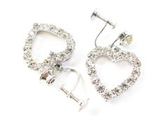 Vintage Rhinestone Heart Earrings for your Wedding - Boucles d'Oreilles en Strass. Vintage Jewelry by My Chouchou.