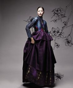 modern hanbok. color combination: aubergine and midnight blue.