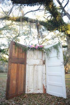 Southern Vintage Wedding Door Wedding Altar Lauren Carroll Photography Desert Plantation Wedding Spanish Moss Wedding