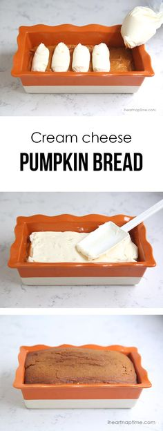 Cream cheese filled pumpkin bread recipe ~- the cream cheese filling makes this bread
