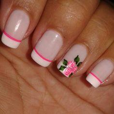 Beauty Nails, Hair Beauty, Cruise Nails, Cute Spring Nails, French Tip Nails, Flower Nails, Nail Inspo, Fun Nails, Hair And Nails