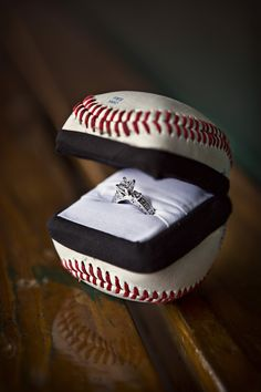 Engagement ring box my boyfriend/fiance made out of a baseball and an old ring… Baseball Proposal, Baseball Ring, Baseball Girlfriend, Baseball Quotes, Baseball Boys, Baseball Party, Baseball Stuff, Baseball Couples, Sports Couples