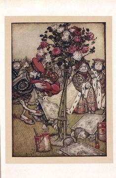 """The Queen turned angrily away from him and said to the Knave, """"Turn them over"""" 