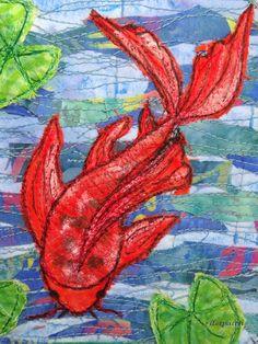 Art postal : carpe koï / fête du fil 2016 p cathala france