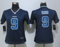 Women New Dallas Cowboys 9 Romo Navy Blue Strobe Elite Jersey