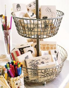 vintage office inspiration- Love this for my stamps and smash book supplies!