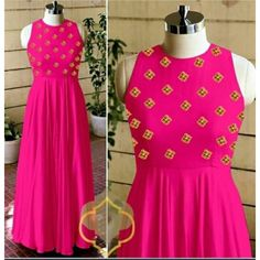 New Designer Long Kurti (Pink) Western Dresses, Indian Dresses, Kurti Styles, Printed Gowns, Designer Gowns, Pink Color, Purple, Blue, Flare Dress