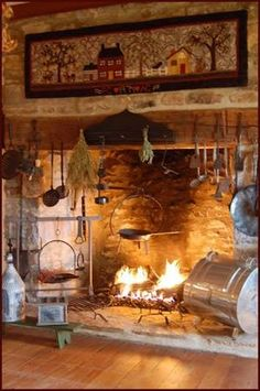 3 Fabulous Ideas Can Change Your Life: Fireplace Hearth Height cedar fireplace mantle.Faux Fireplace With Storage log burner fireplace house.Faux Fireplace With Storage. Primitive Homes, Primitive Fireplace, Cozy Fireplace, Country Primitive, Primitive Bedroom, Primitive Antiques, Simple Fireplace, Primitive Kitchen, Fireplace Design
