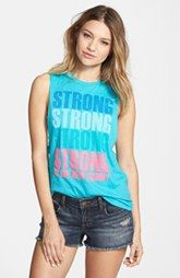 Corner Shop 'Strong is the New Skinny' Graphic Muscle Tee (Juniors)