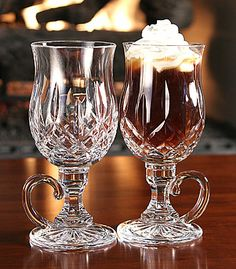 Waterford Crystal, Pair of Lismore Irish Coffee Mugs Irish Coffee Mugs, Glass Coffee Mugs, Coffee Cups, Waterford Lismore, Waterford Crystal, Crystal Glassware, Mason Jar Wine Glass, Cut Glass, Glass Vase