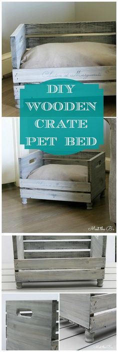A creative and awesome idea for repurposing the wooden crates… DIY Crate Pet Bed. A creative and awesome idea for repurposing the wooden crates with this DIY pet bed! A cute cat furniture that also matches… Continue Reading → Wooden Dog Crate, Cat Crate, Crate Bed, Wood Crates, Wooden Diy, Wooden Benches, Wood Crate Diy, Wood Pallets, Wooden Boxes