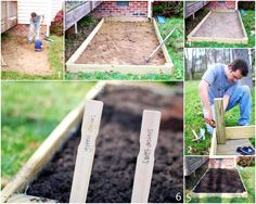 DIY vegetable garden. Love the idea to use paint sticks to mark the seeds.