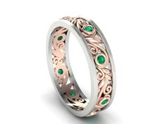 Emerald Wedding Band, Handmade organic Band, 2 Tone eternity band, Close to nature Leaves and vines wedding ring by BridalRings on Etsy https://www.etsy.com/listing/511398217/emerald-wedding-band-handmade-organic