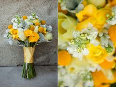 yellow grey white wedding flowers