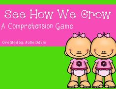 This pack is designed to accompany the story See How We Grow. This is a comprehension game pack to help review skills and assess student's comprehension. This can be played in small groups. This pack includes: -instructions -gameboard -spinner -30 comprehension questions -12 special cards -15 writing prompt pages  I hope you enjoy this pack! If you have any questions please feel free to ask. Thanks!