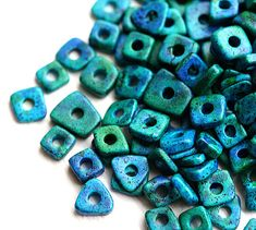 Greek Mykonos beads  Ocean Teal Blue mix  ceramic by MayaHoney, $1.85