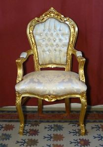 Poltrona legno oro/tessuto damascato avorio
