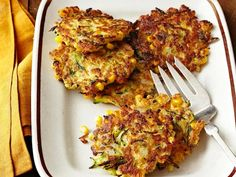 Zucchini-Corn Fritters : Buttermilk is the key to making these vegetable fritters moist.