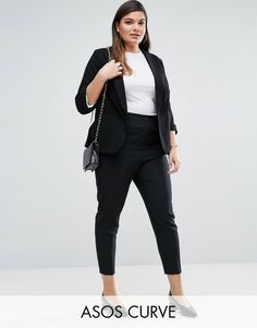 Browse online for the newest ASOS CURVE Skinny Fit Ankle Grazer Pant styles. Shop easier with ASOS' multiple payments and return options (Ts&Cs apply). Woman Outfits, Curvy Outfits, Plus Size Outfits, Blazer Outfits Casual, Smart Casual Outfit, Plus Size Fashion For Women, Black Women Fashion, Outfit Formal Juvenil, Work Fashion