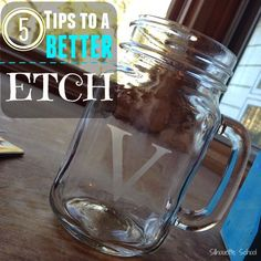 Glass Etching Tips: 5 Ways to Get a Better Etch ~ Silhouette School Silhouette Curio, Silhouette Vinyl, Silhouette Machine, Silhouette America, Silhouette Files, Silhouette Cutter, Silhouette Portrait, Silhouette Cameo Tutorials, Silhouette Projects