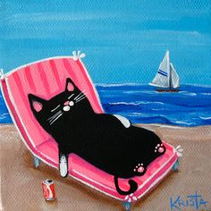 CAT at the Beach Folk Art PRINT by Krista by kristasartstudio