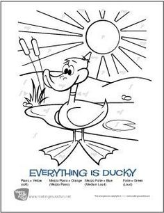 Make learning dynamics symbols fun with this 'Everything is Ducky' Color-by-Note worksheet from MakingMusicFun. Pick a space to color, match the dynamics symbol to the musical term, and grab your crayons! Reading Piano Sheet Music, Easy Piano Sheet Music, Reading Music, Music Theory Games, Music Theory Worksheets, Free Printable Sheet Music, Free Sheet Music, Piano Lessons For Kids, Art Lessons