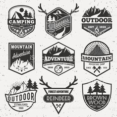 Set of monochrome outdoor camping adventure and mountain badge logo royalty-free set of monochrome outdoor camping adventure and mountain badge logo stock vector art & more images of outdoors
