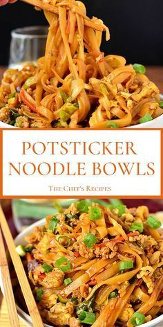 POTSTICKER NOODLE BOWLS Potsticker Noodle Bowls are a cinch to make and come together in 30 minutes with, like, 8 minutes of active cooking time. If you've ever made homemade potstickers than you know… Chef Recipes, Pork Recipes, Chicken Recipes, Cooking Recipes, Healthy Recipes, Cooking Time, Healthy Meals, Bread Recipes, Healthy Foods